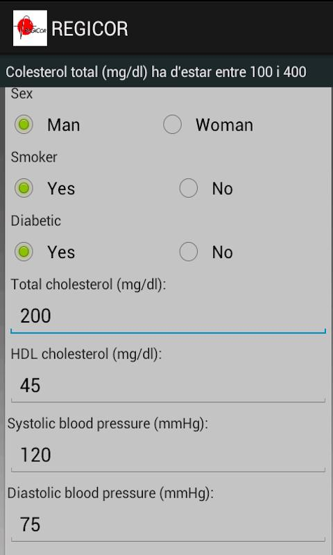 REGICOR CARDIOVASC RISK ESTIMA- screenshot