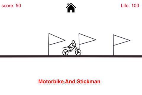 落書きStickmanのバイクスタント
