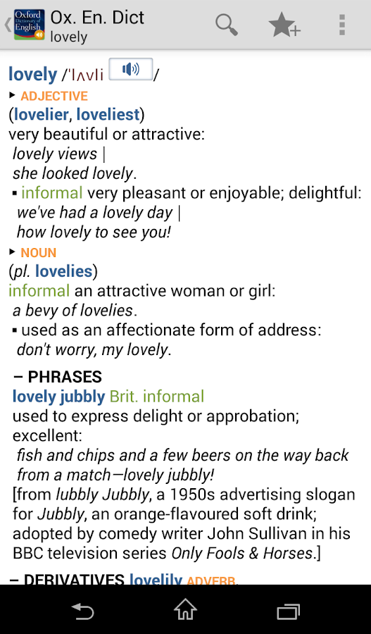 Oxford Dictionary of English - screenshot