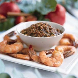 Poached Shrimp with Toasted Sesame-Ginger Sauce.