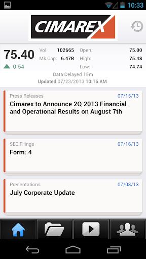 【免費財經App】Cimarex IR Investor Relations-APP點子