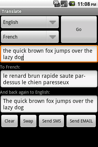 Translate - screenshot