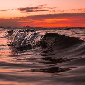 Liquid Sliver by Cameron Watts - Landscapes Waterscapes ( clouds, water, sand, eauty, silver, chrome, ocean, beach, fun, sun, nature, sunset, wave, glass, surf, light, natural, rocks,  )