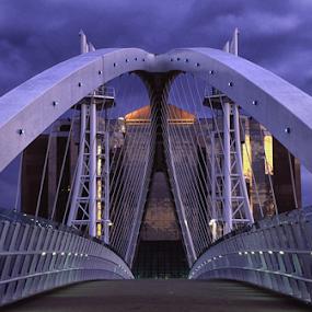 Lowry Bridge, Salford Quays, UK by Phil Portus - Buildings & Architecture Bridges & Suspended Structures ( symmetrical, pwc89, quays, bridge, salford, evening, lowry )