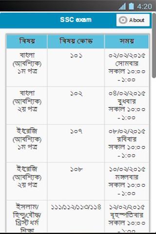 SSC exam schedule 2015