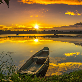 Burning Sunrise by Juanito Bumactao - Landscapes Sunsets & Sunrises ( laguna, city of seven lakes, summer, hot, sunrise, san pablo city, philippines, , relax, tranquil, relaxing, tranquility )