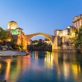 Nightfall in Mostar by Stephen Bridger - City,  Street & Park  Night ( europe, bosnia and herzegovina, old bridge, old town, bosnia, travel, mostar, bih, travel photography )