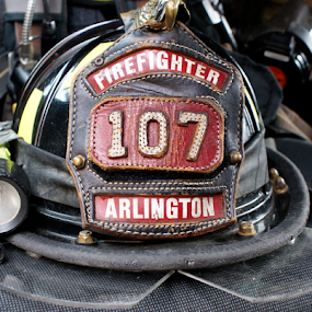 The Fire Helmet by Werner Ennesser - Artistic Objects Other Objects ( arlington, firefighter, acfd, engine, 107, firefighting, virginia, helmet,  )