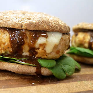 Chicken Burgers with Apple, Balsamic, and Blue Cheese.