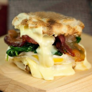 Egg Sandwich with Spinach, Brie and Maple Bacon.