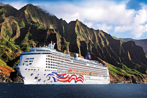 Norwegian-Pride-Of-America-Napali-Coast - Get a great view of the breathtaking green pinnacles of Hawaii's Na Pali Coast than from the deck of Norwegian Cruise Line's Pride of America.