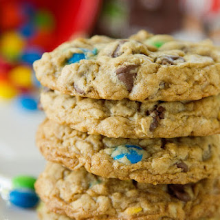 M&M Chocolate Chip Oatmeal Cookies.