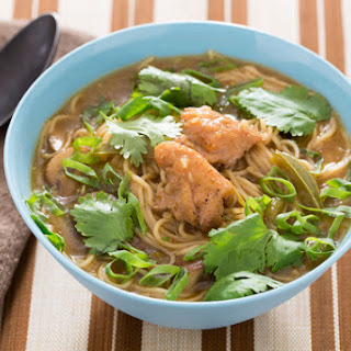 Spicy Thai Chicken Noodle Soup with Red Curry & Mushrooms.