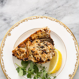 Grilled Swordfish Steaks with Lemon Oregano Marinade.