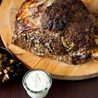 Roasted Prime Rib with Sauteed Mushrooms and Mom's Creamy Horseradish Sauce.