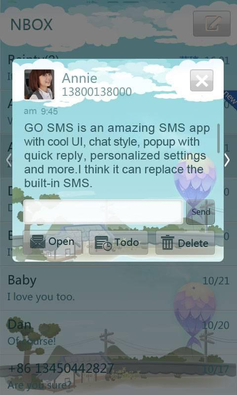 GO SMS Pro countryside theme - screenshot