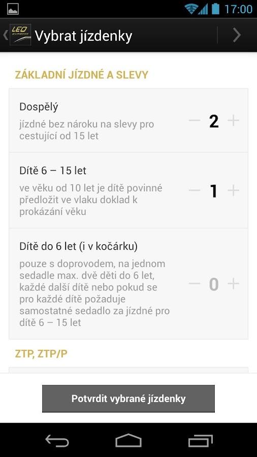 LEO Express Jízdenky - screenshot