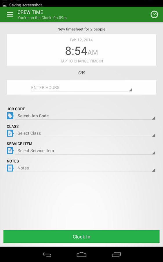 TSheets Time Tracker- screenshot