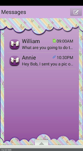 BowsNButterflies GO SMS THEME