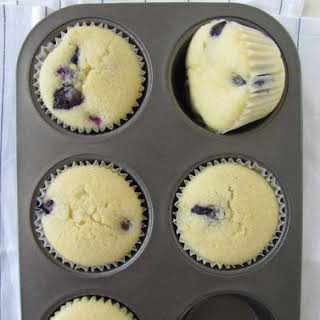 Blueberry & Lemon Cupcakes with Lemon Cream Cheese Frosting.