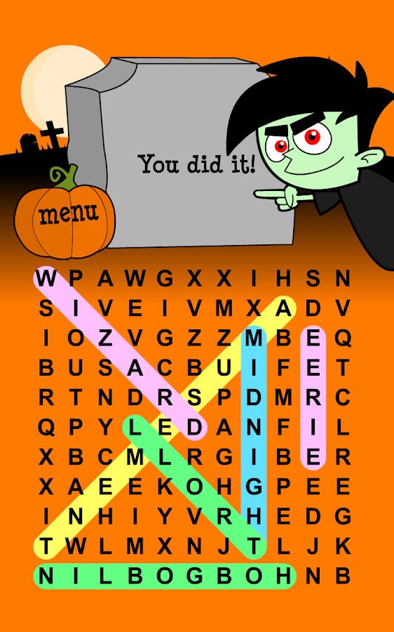 halloween word search puzzles screenshot - Halloween Word Game