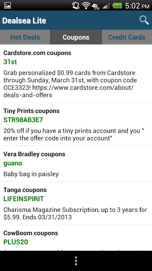 Dealsea down - Limit one coupon per person per visit