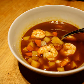 Dark Chile Shrimp Soup with Epazote.