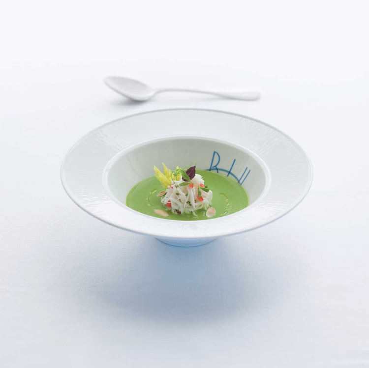 The chilled sweet pea soup on the menu at Celebrity Cruises's Blu restaurant makes a perfect appetizer.