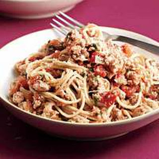 Spaghetti with Spicy Turkey Meat Sauce.