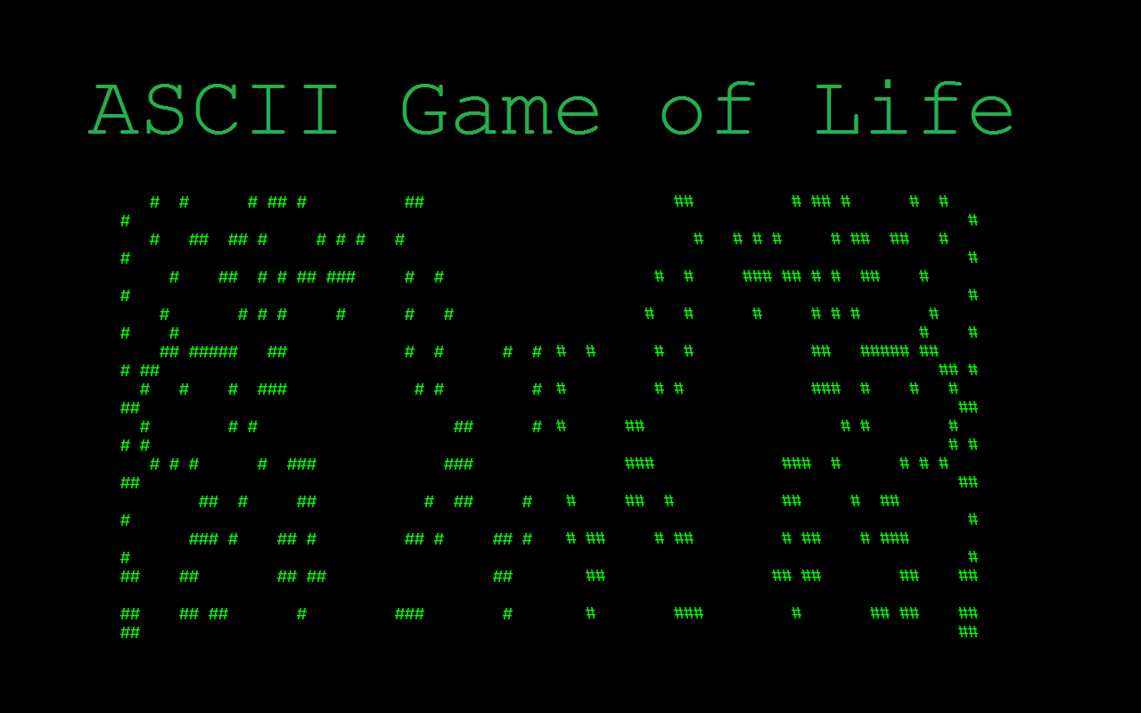 ASCII Game of Life- screenshot