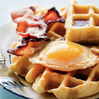 Maple Syrup–Poached Eggs And Waffles