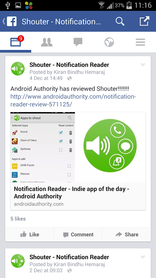 Notification Reader: Shouter- screenshot
