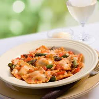 Whole Wheat Cheese Ravioli, Marinara Sauce and Fresh Asparagus.