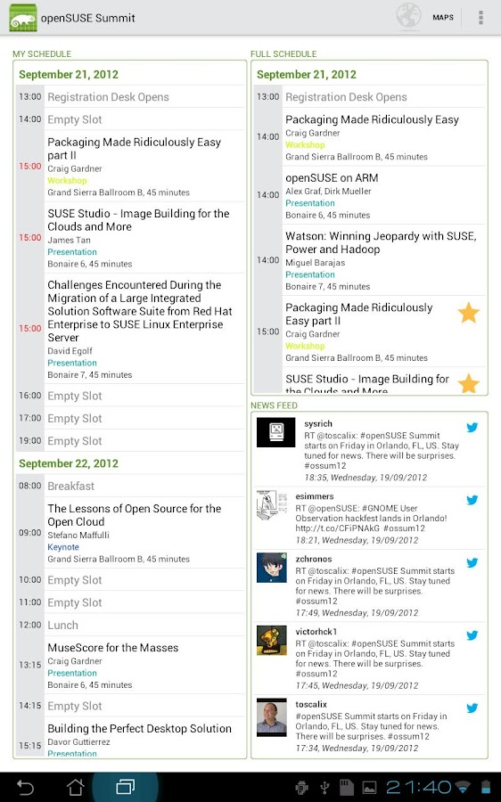 SUSE Conferences - screenshot