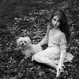 silence by Andreea Nechita - Babies & Children Child Portraits ( bichon, girl, black and white, art, kids, dog )