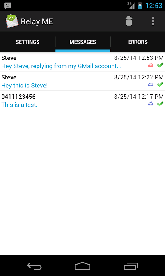 Relay ME, SMS via Email- screenshot