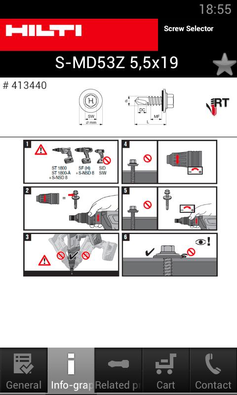Hilti Screw Selector - screenshot