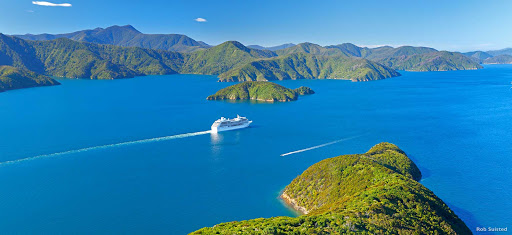 Explore_Marlborough_Sounds - Cruise ships love to visit the Marlborough Sounds because the waters are sheltered and the scenery is mind-blowing. Ashore you can explore the port town of Picton, catch a tour to the world-famous Marlborough wine region or arrange to go fishing.