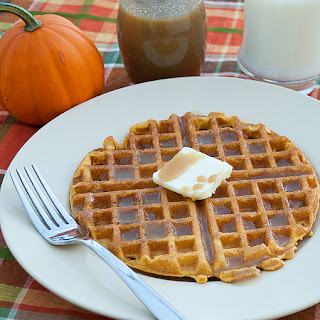 Pumpkin Waffles with Pumpkin Spiced Syrup