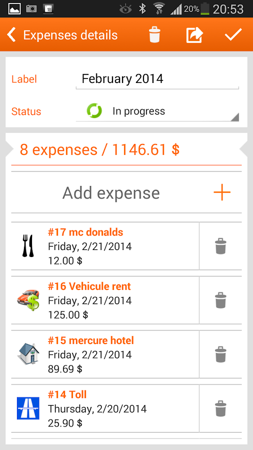 N2F Expense report and mileage- screenshot