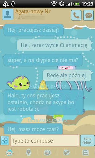 GO SMS Sweet Aquarium Theme