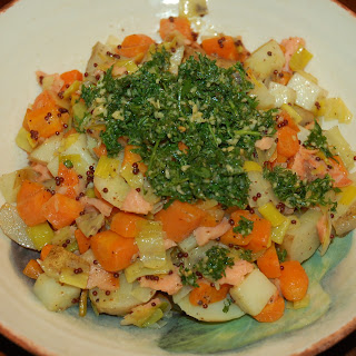 Root Veggie Hash with Mustards, Smoked Salmon and Carrot Top Pesto