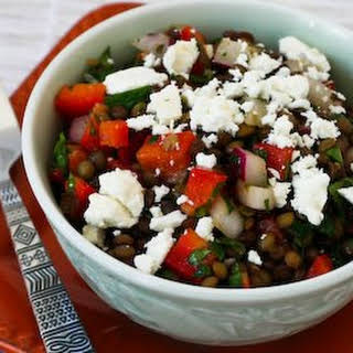 Joanne Weir's Green Lentil and Red Pepper Salad with Red Onion, Mint, and Feta.