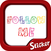 Follow me Sticker TextCutie