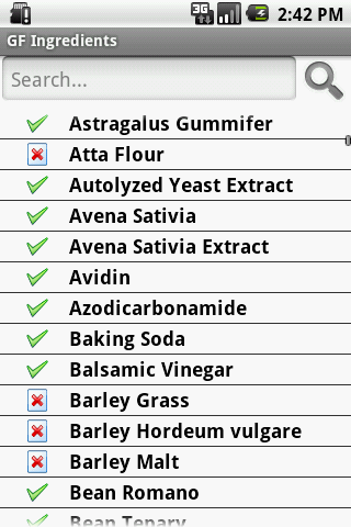 Gluten Free Ingredients - screenshot