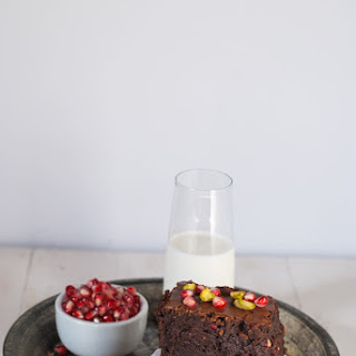 Boozy Orange Brownies with Pomegranate and Pistachio Recipe