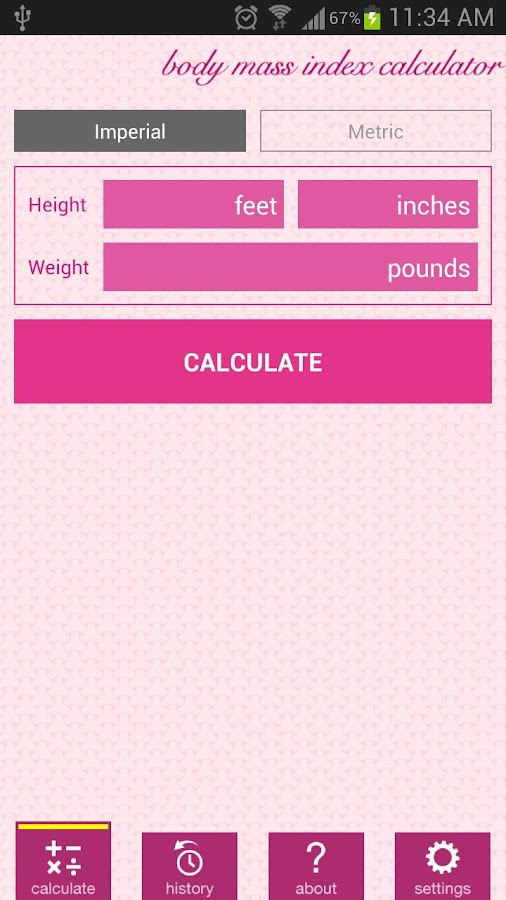 Weight and BMI Diary - screenshot