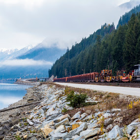 Parallel Travel Options by E.g. Orren - Transportation Trains ( train mountainside waterside roadway travel, , Free, Freedom, Inspire, Inspiring, Inspirational, Emotion, path, nature, landscape )