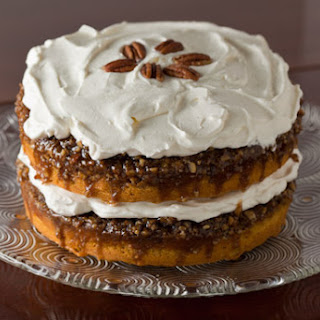 Praline Pumpkin Cake with Whipped Cream Frosting.