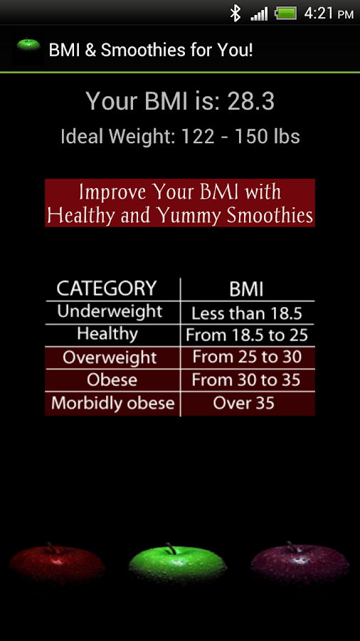 BMI & Smoothies for You - screenshot